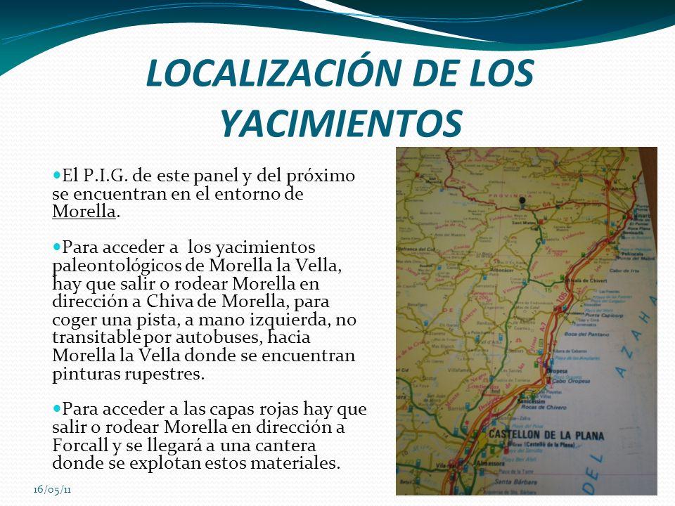 16/05/11 LOCALIZACIÓN DE LOS YACIMIENTOS El P.I.G. de este panel y del próximo se encuentran en el entorno de Morella. Para acceder a los yacimientos