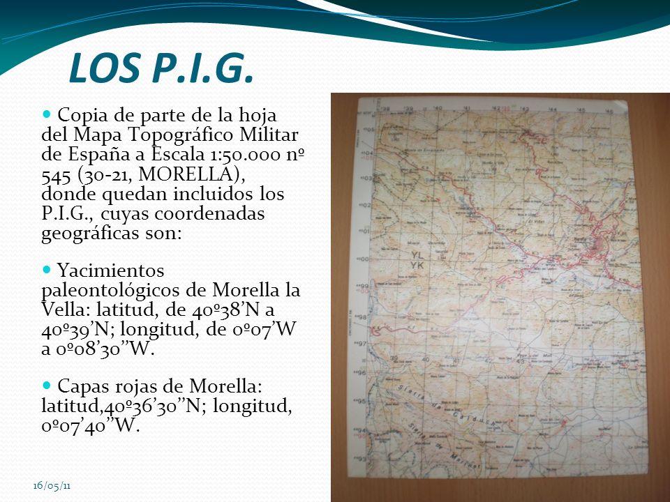 16/05/11 LOS P.I.G. Copia de parte de la hoja del Mapa Topográfico Militar de España a Escala 1:50.000 nº 545 (30-21, MORELLA), donde quedan incluidos