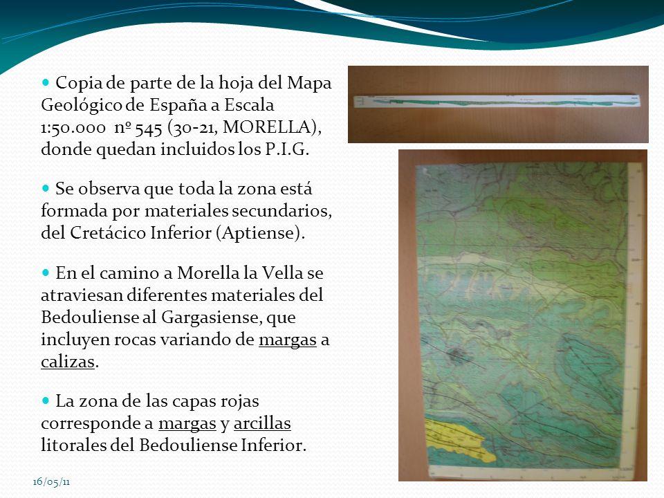16/05/11 Copia de parte de la hoja del Mapa Geológico de España a Escala 1:50.000 nº 545 (30-21, MORELLA), donde quedan incluidos los P.I.G. Se observ