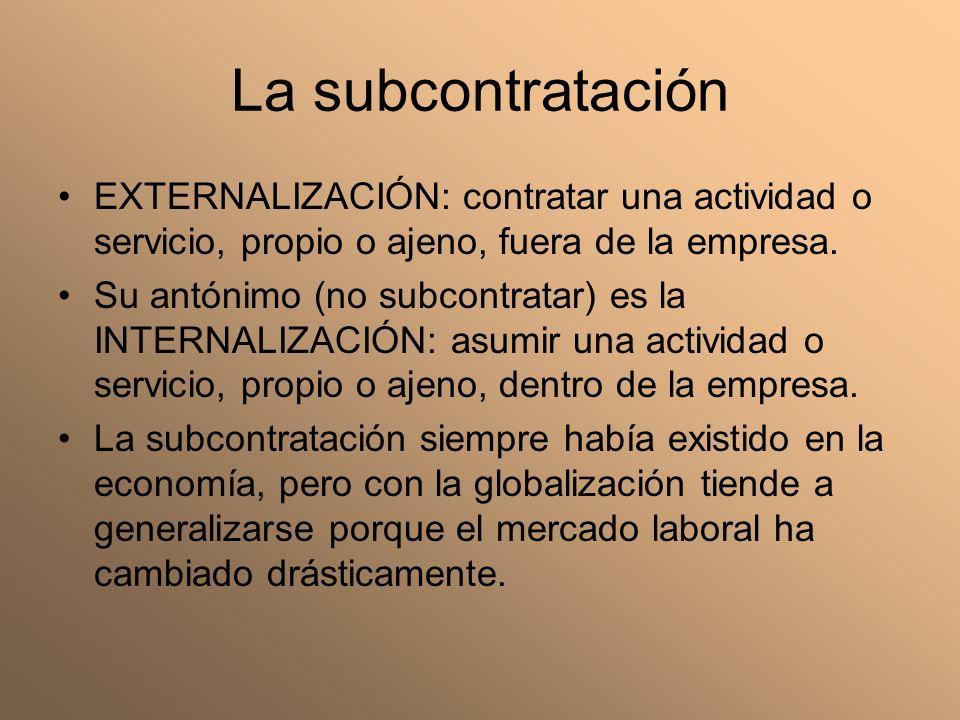La subcontratación EXTERNALIZACIÓN: contratar una actividad o servicio, propio o ajeno, fuera de la empresa. Su antónimo (no subcontratar) es la INTER