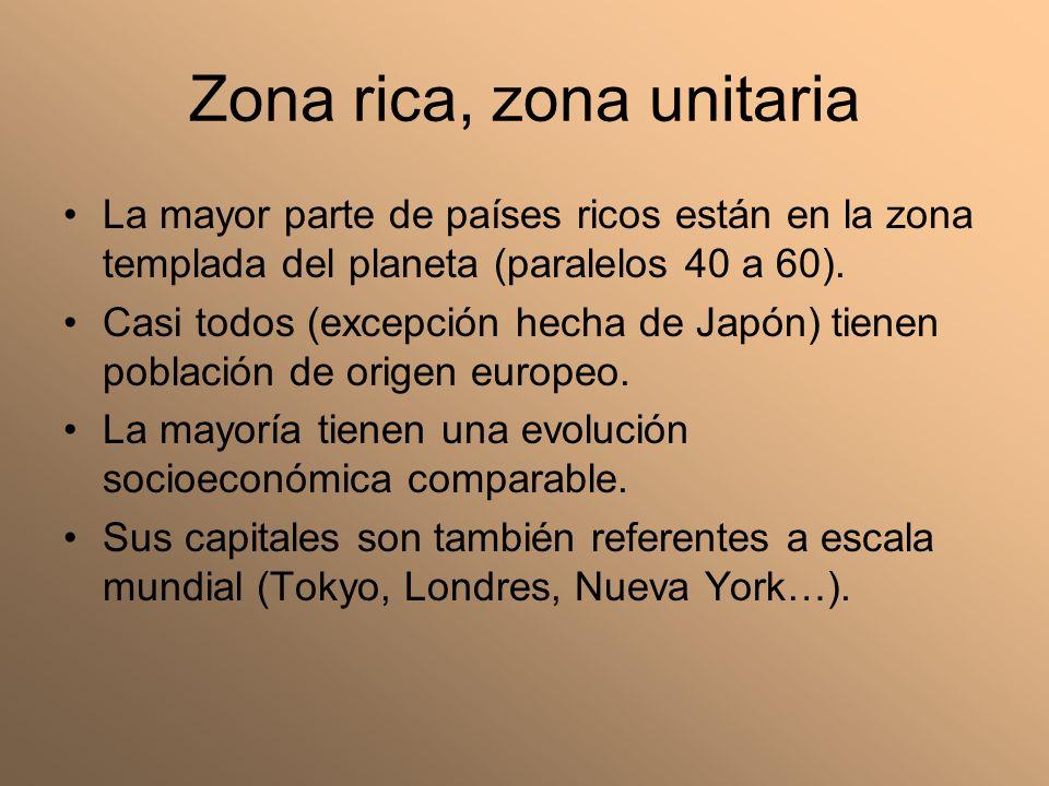 Zona rica, zona unitaria La mayor parte de países ricos están en la zona templada del planeta (paralelos 40 a 60). Casi todos (excepción hecha de Japó