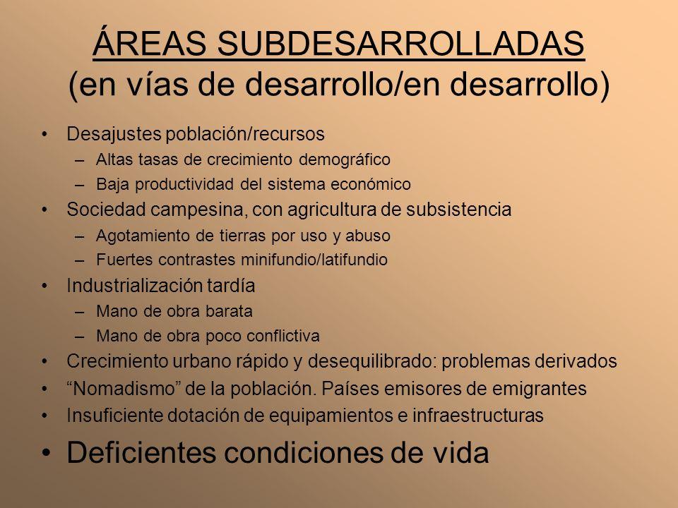 ÁREAS SUBDESARROLLADAS (en vías de desarrollo/en desarrollo) Desajustes población/recursos –Altas tasas de crecimiento demográfico –Baja productividad