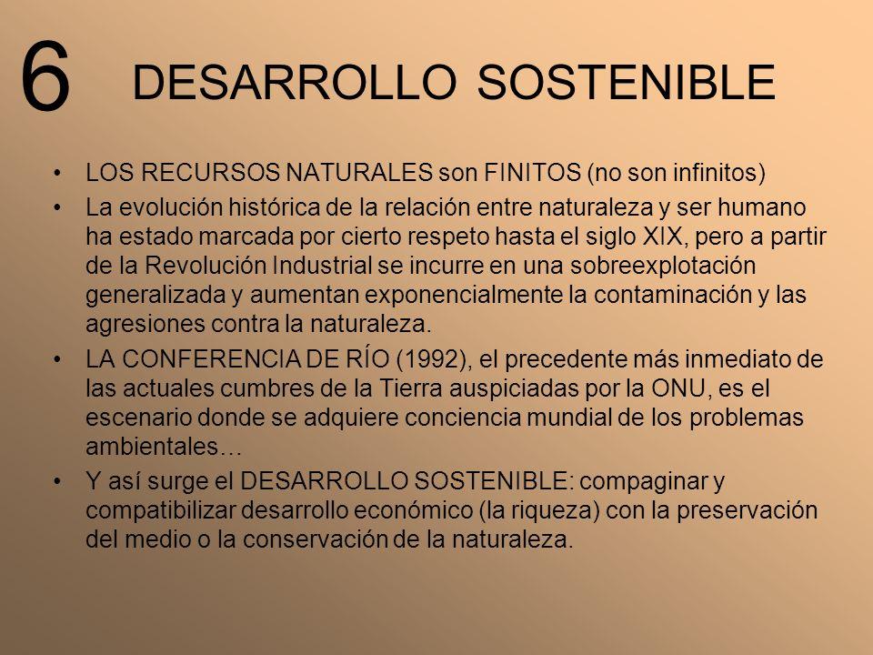 DESARROLLO SOSTENIBLE LOS RECURSOS NATURALES son FINITOS (no son infinitos) La evolución histórica de la relación entre naturaleza y ser humano ha est