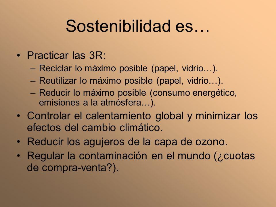 Sostenibilidad es… Practicar las 3R: –Reciclar lo máximo posible (papel, vidrio…). –Reutilizar lo máximo posible (papel, vidrio…). –Reducir lo máximo