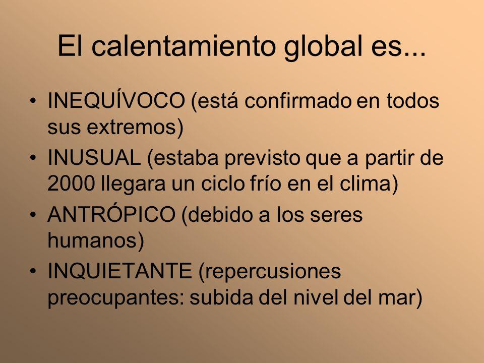 El calentamiento global es... INEQUÍVOCO (está confirmado en todos sus extremos) INUSUAL (estaba previsto que a partir de 2000 llegara un ciclo frío e
