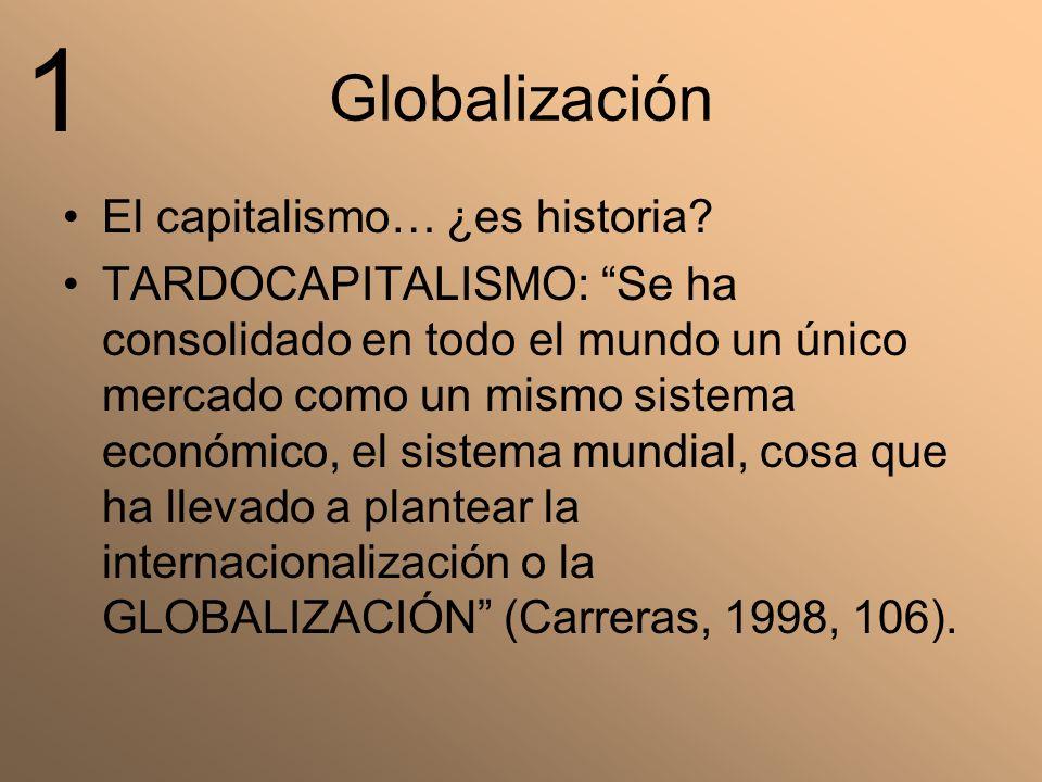 Globalización El capitalismo… ¿es historia? TARDOCAPITALISMO: Se ha consolidado en todo el mundo un único mercado como un mismo sistema económico, el