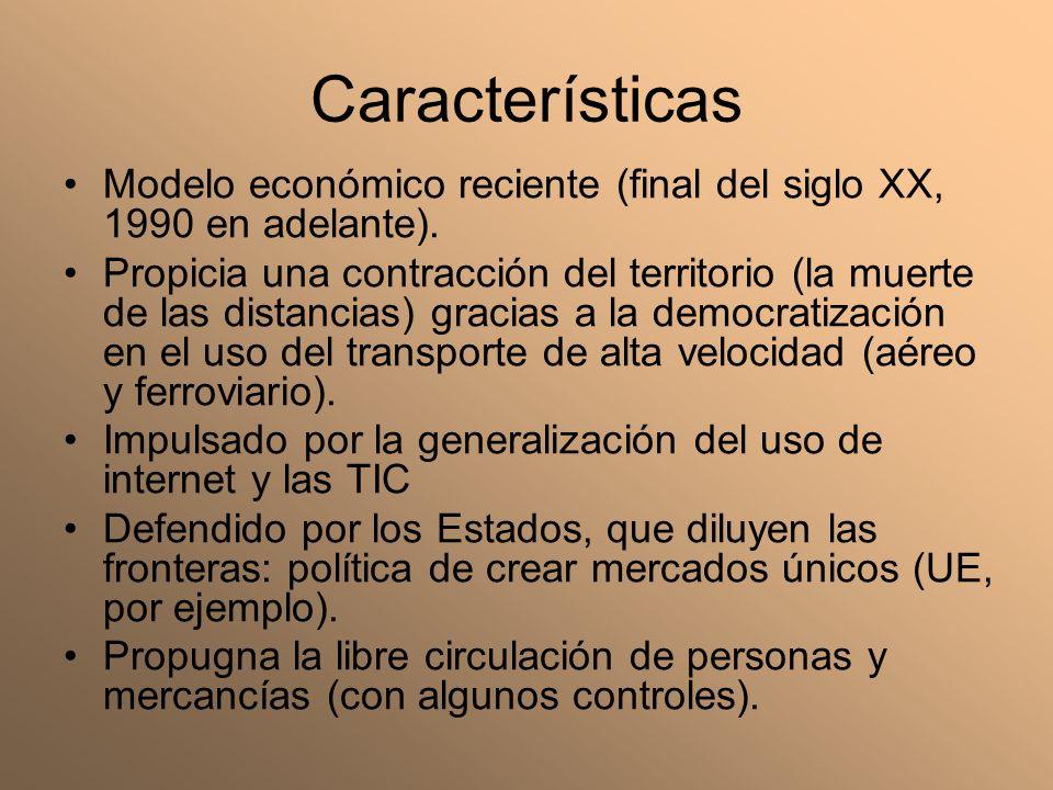 Características Modelo económico reciente (final del siglo XX, 1990 en adelante). Propicia una contracción del territorio (la muerte de las distancias