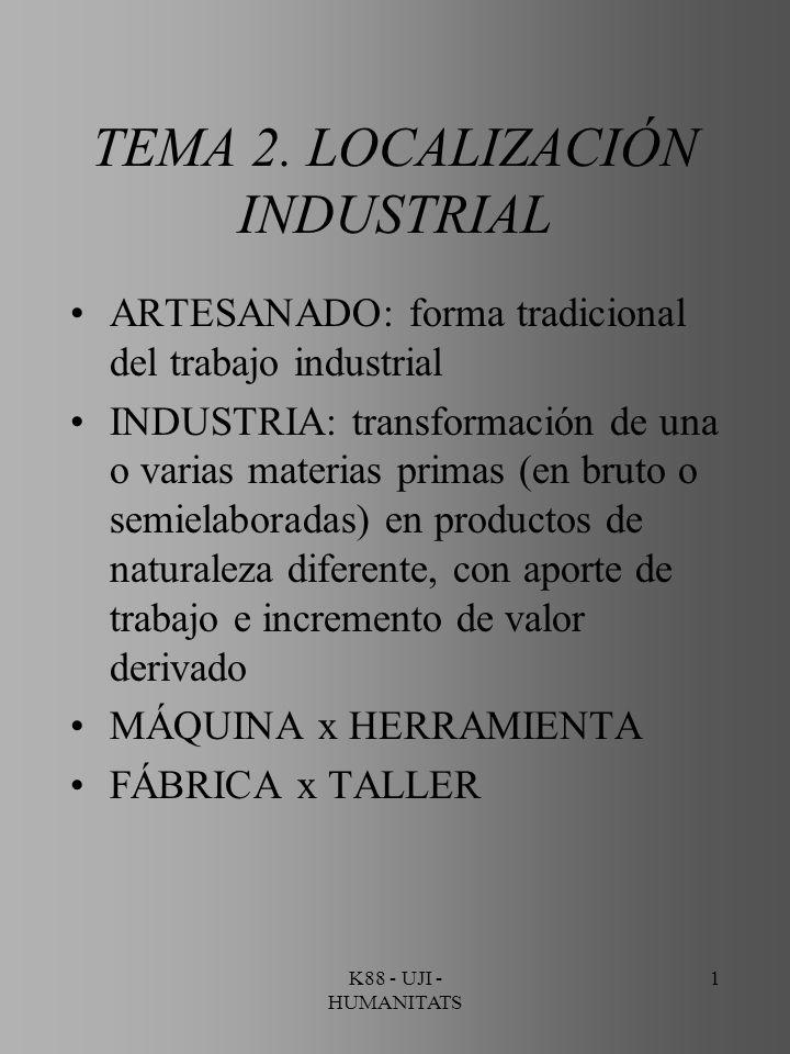 K88 - UJI - HUMANITATS 32 ECONOMÍAS DE TRANSFERENCIA Reducción de los gastos de transporte Reducción de los riesgos generados por el intercambio de mercancías Aumento de la regularidad y fluidez de los abastecimientos BP - IBERDROLA (El Serrallo - Castelló)