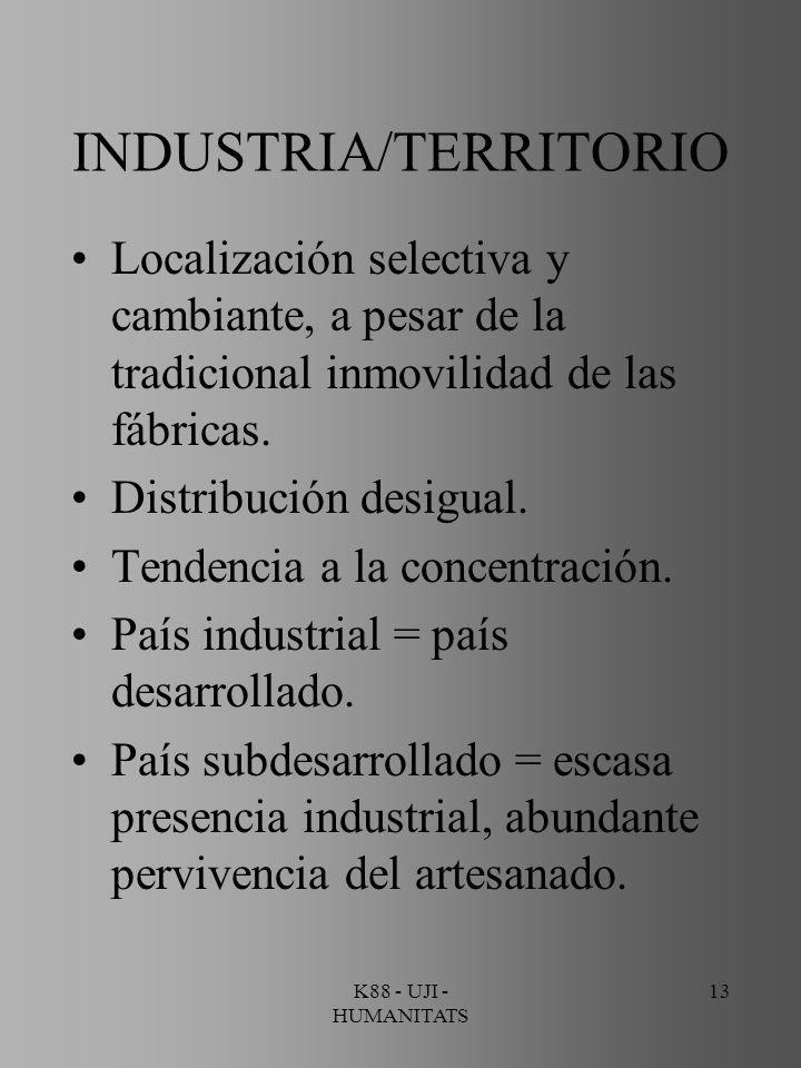 K88 - UJI - HUMANITATS 13 INDUSTRIA/TERRITORIO Localización selectiva y cambiante, a pesar de la tradicional inmovilidad de las fábricas. Distribución