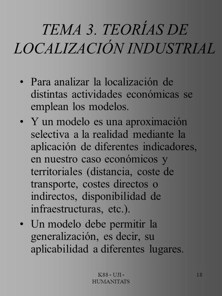 K88 - UJI - HUMANITATS 18 TEMA 3. TEORÍAS DE LOCALIZACIÓN INDUSTRIAL Para analizar la localización de distintas actividades económicas se emplean los