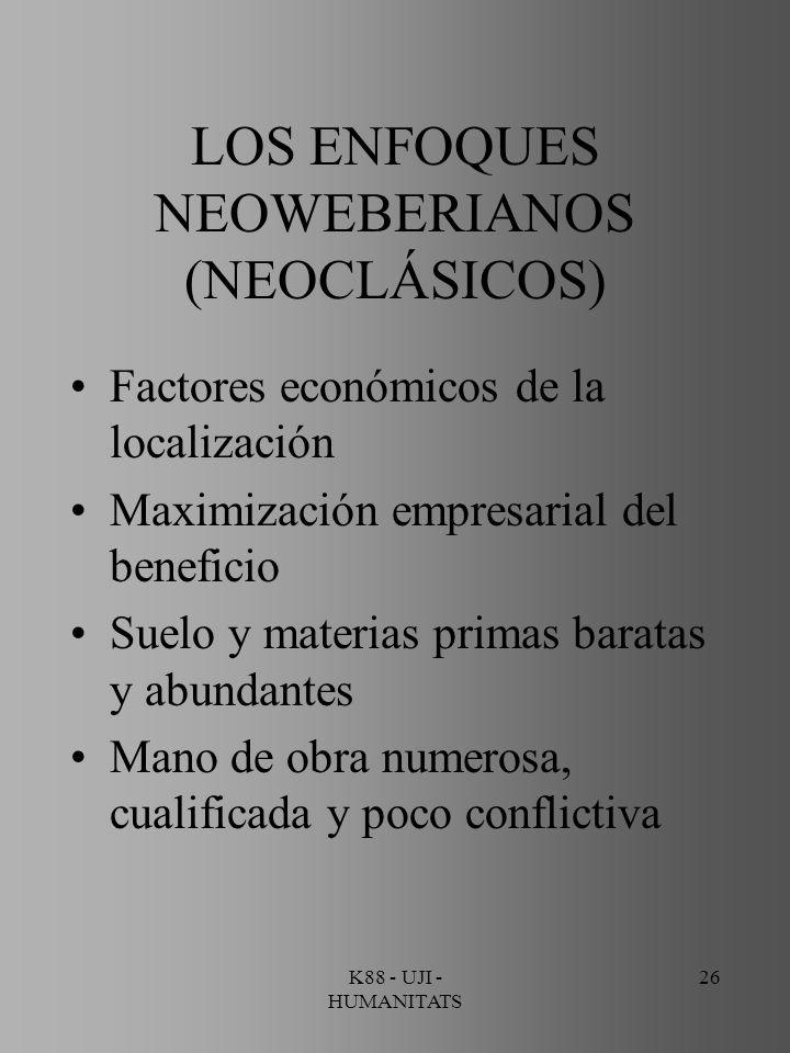 K88 - UJI - HUMANITATS 26 LOS ENFOQUES NEOWEBERIANOS (NEOCLÁSICOS) Factores económicos de la localización Maximización empresarial del beneficio Suelo