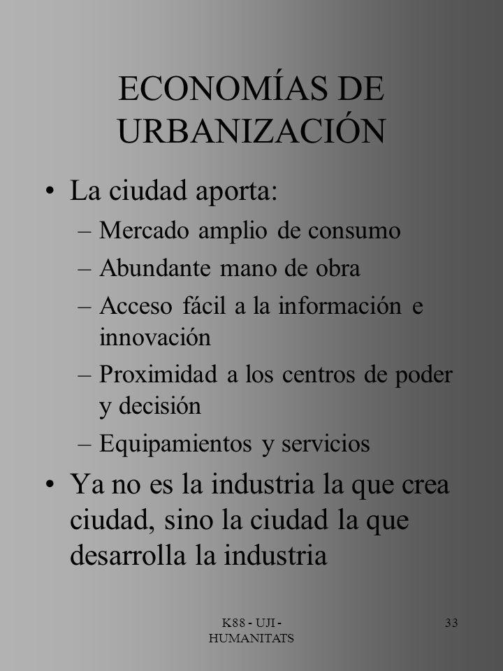 K88 - UJI - HUMANITATS 33 ECONOMÍAS DE URBANIZACIÓN La ciudad aporta: –Mercado amplio de consumo –Abundante mano de obra –Acceso fácil a la informació