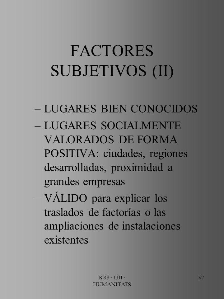 K88 - UJI - HUMANITATS 37 FACTORES SUBJETIVOS (II) –LUGARES BIEN CONOCIDOS –LUGARES SOCIALMENTE VALORADOS DE FORMA POSITIVA: ciudades, regiones desarr