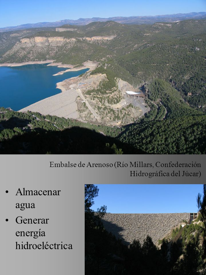 K88 - UJI - HUMANITATS 4 Almacenar agua Generar energía hidroeléctrica Embalse de Arenoso (Río Millars, Confederación Hidrográfica del Júcar)