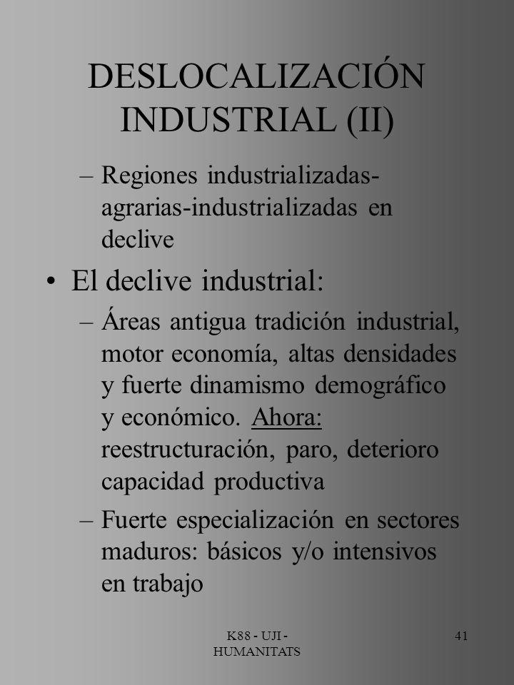 K88 - UJI - HUMANITATS 41 DESLOCALIZACIÓN INDUSTRIAL (II) –Regiones industrializadas- agrarias-industrializadas en declive El declive industrial: –Áre