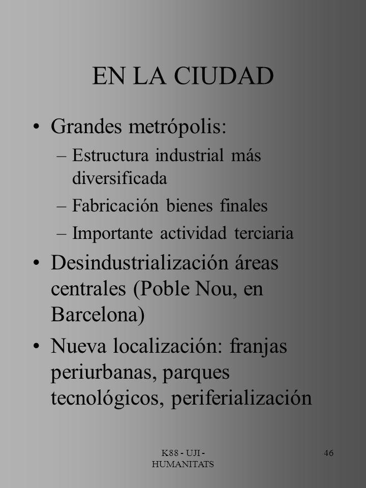 K88 - UJI - HUMANITATS 46 EN LA CIUDAD Grandes metrópolis: –Estructura industrial más diversificada –Fabricación bienes finales –Importante actividad