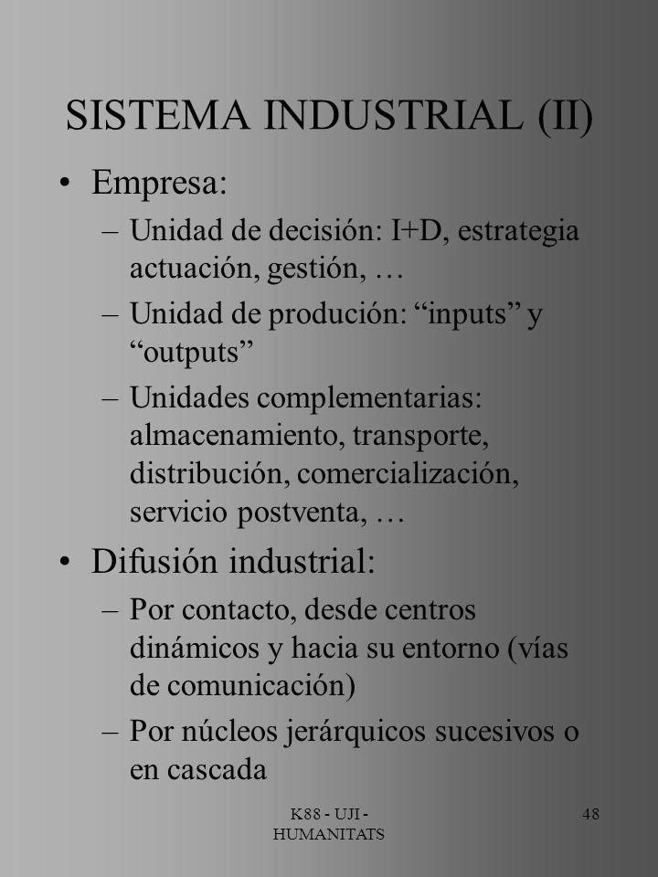 K88 - UJI - HUMANITATS 48 SISTEMA INDUSTRIAL (II) Empresa: –Unidad de decisión: I+D, estrategia actuación, gestión, … –Unidad de produción: inputs y o