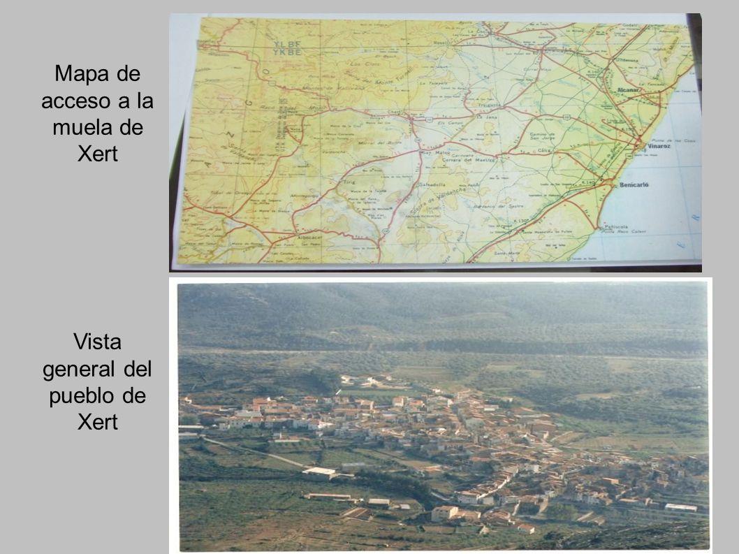 Mapa de acceso a la muela de Xert Vista general del pueblo de Xert