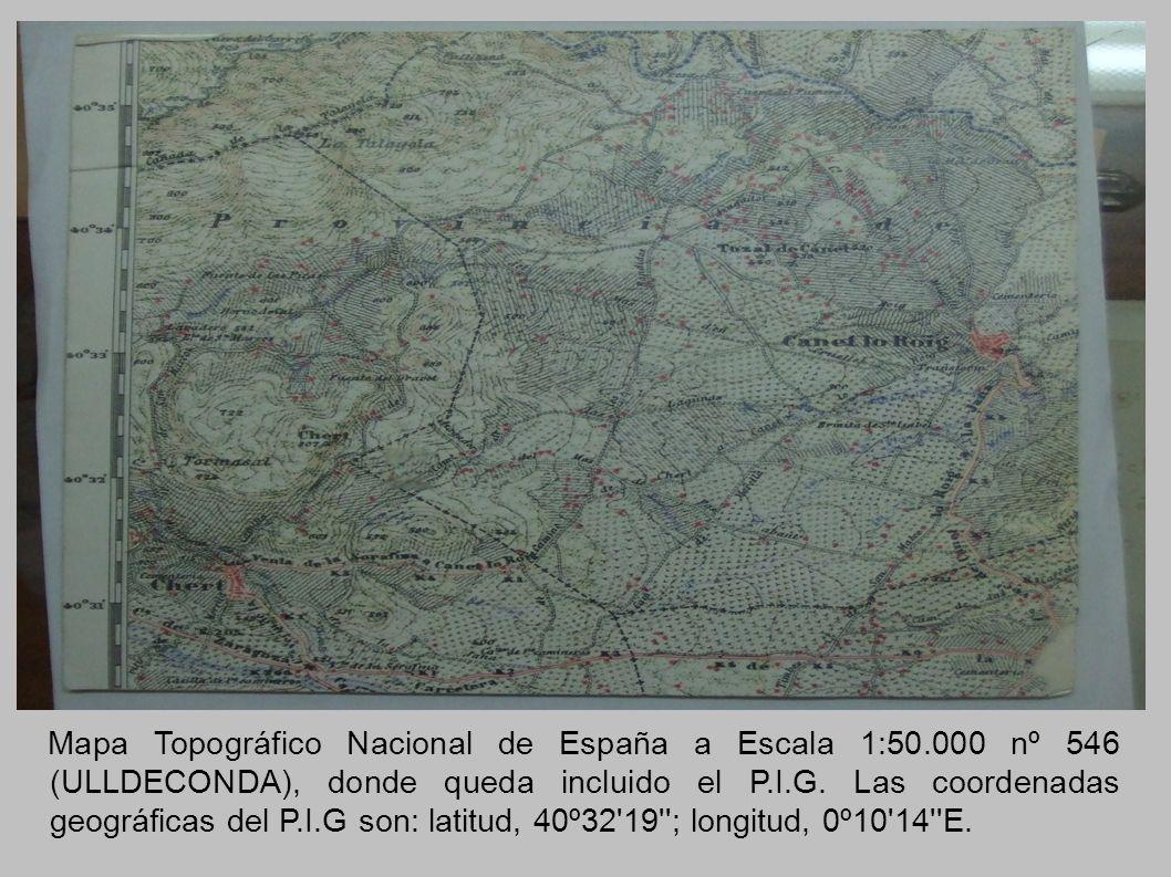 Mapa Topográfico Nacional de España a Escala 1:50.000 nº 546 (ULLDECONDA), donde queda incluido el P.I.G. Las coordenadas geográficas del P.I.G son: l