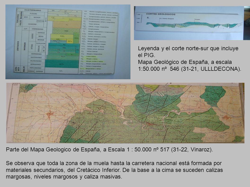 Parte del Mapa Geologico de España, a Escala 1 : 50.000 nº 517 (31-22, Vinaroz). Se observa que toda la zona de la muela hasta la carretera nacional e