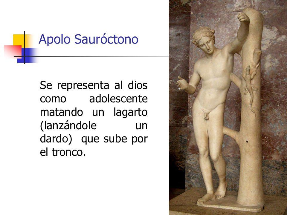 32 Apolo Sauróctono Se representa al dios como adolescente matando un lagarto (lanzándole un dardo) que sube por el tronco.