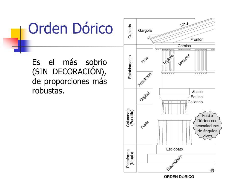 5 Orden Dórico Es el más sobrio (SIN DECORACIÓN), de proporciones más robustas.