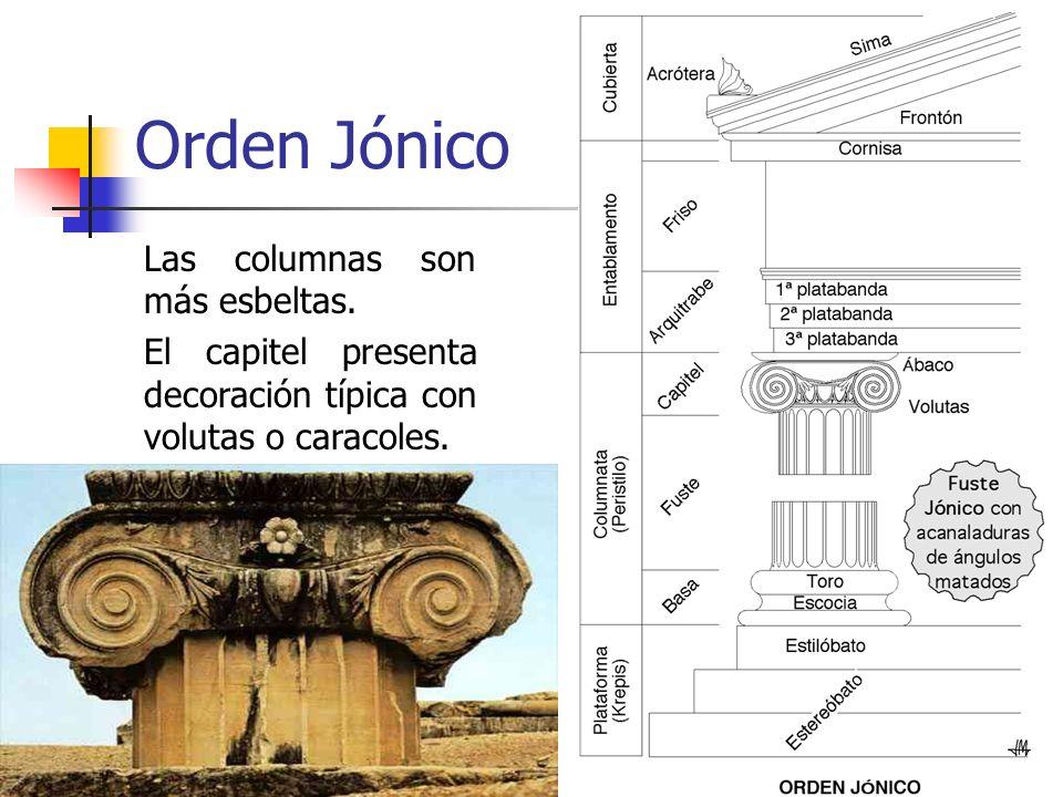 7 Orden Jónico Las columnas son más esbeltas. El capitel presenta decoración típica con volutas o caracoles.