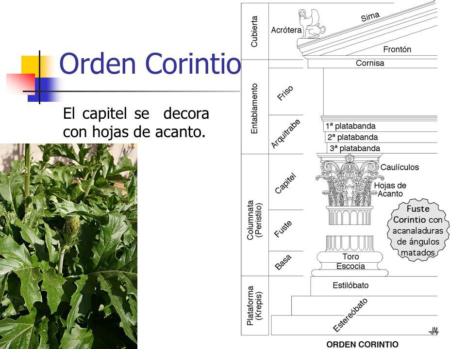 9 Orden Corintio El capitel se decora con hojas de acanto.