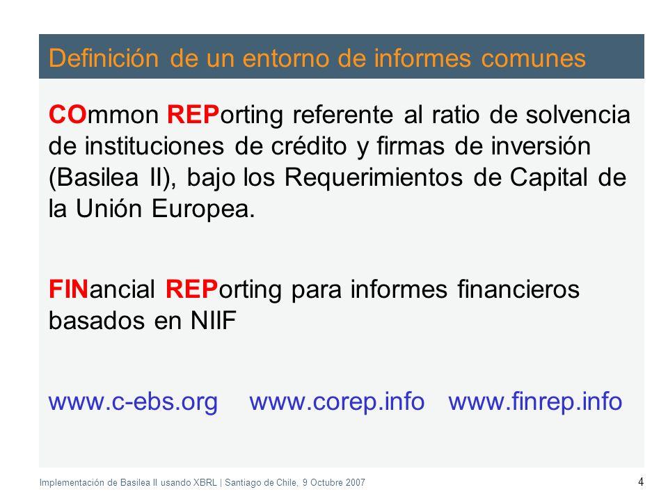 Application of the Supervisory Review Process CEBS CP03 | May 2004 Implementación de Basilea II usando XBRL | Santiago de Chile, 9 Octubre 2007 4 Definición de un entorno de informes comunes COmmon REPorting referente al ratio de solvencia de instituciones de crédito y firmas de inversión (Basilea II), bajo los Requerimientos de Capital de la Unión Europea.