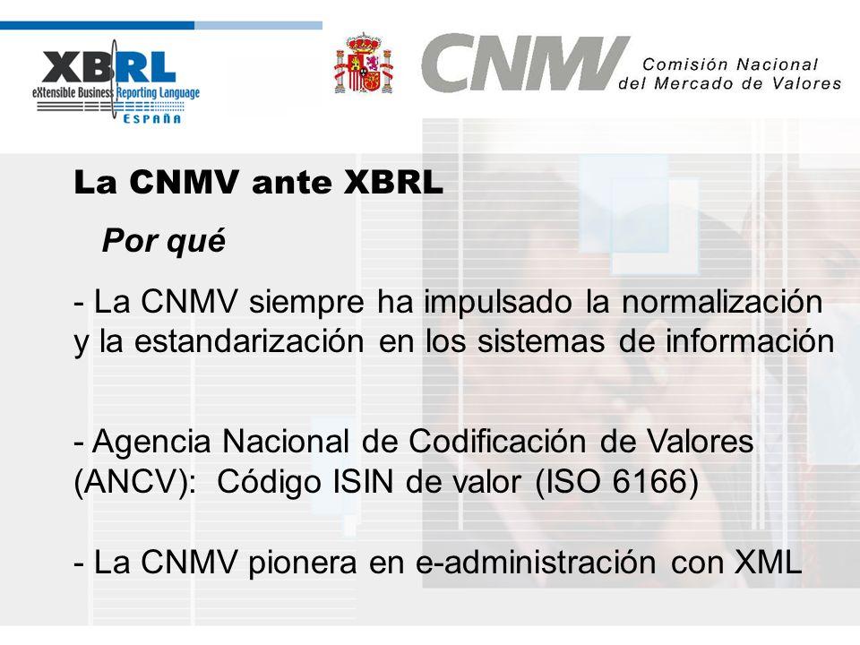 (logotipo) La CNMV ante XBRL Por qué - La CNMV siempre ha impulsado la normalización y la estandarización en los sistemas de información - Agencia Nac