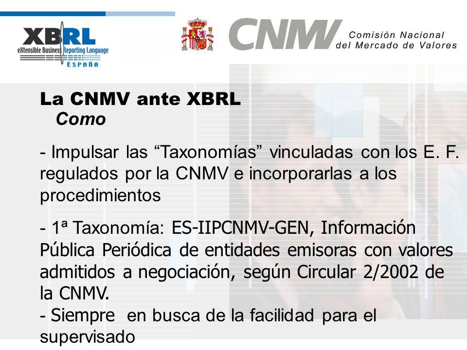 (logotipo) La CNMV ante XBRL Como - Impulsar las Taxonomías vinculadas con los E. F. regulados por la CNMV e incorporarlas a los procedimientos - 1ª T