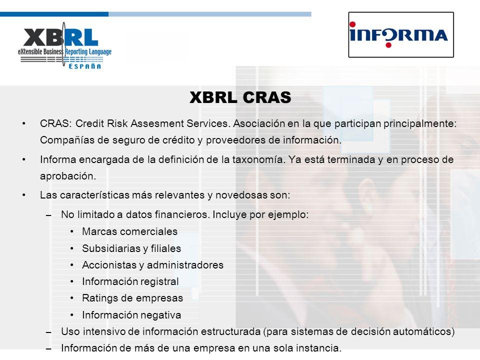 XBRL CRAS CRAS: Credit Risk Assesment Services. Asociación en la que participan principalmente: Compañías de seguro de crédito y proveedores de inform