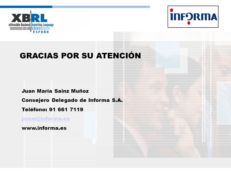 GRACIAS POR SU ATENCIÓN Juan María Sainz Muñoz Consejero Delegado de Informa S.A. Teléfono: 91 661 7119 jmsm@informa.es www.informa.es