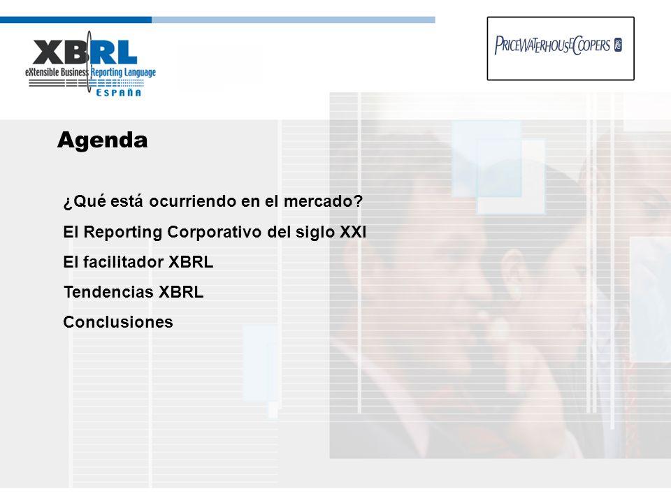 Agenda ¿Qué está ocurriendo en el mercado? El Reporting Corporativo del siglo XXI El facilitador XBRL Tendencias XBRL Conclusiones