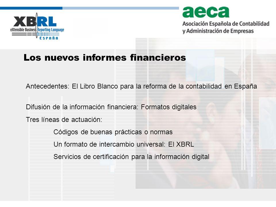(logotipo) Los nuevos informes financieros Antecedentes: El Libro Blanco para la reforma de la contabilidad en España Difusión de la información finan