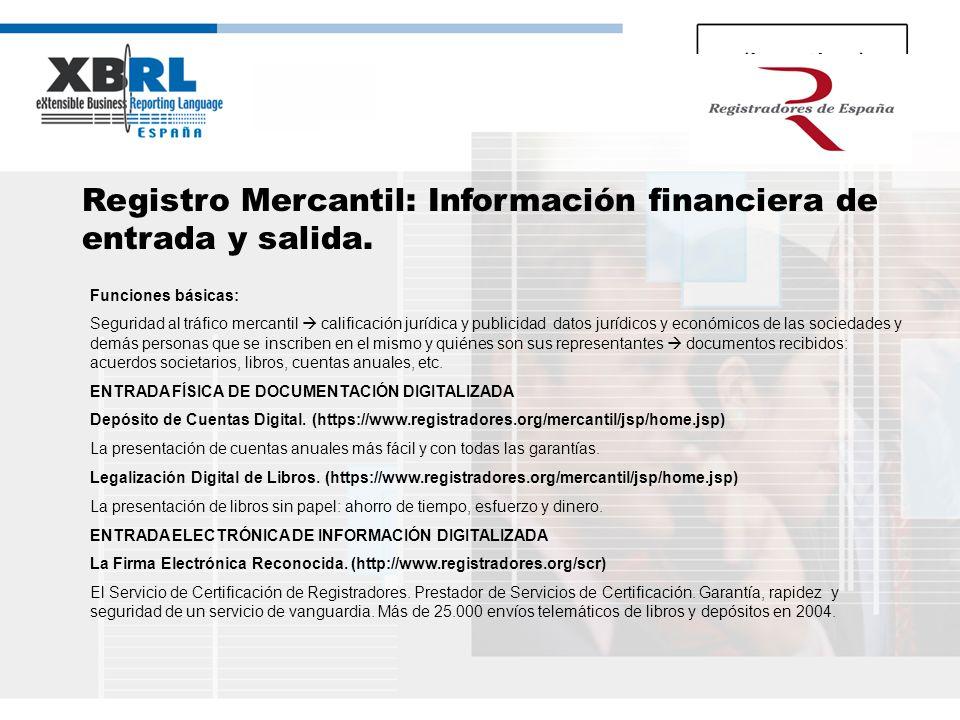 (logotipo) Registro Mercantil: Información financiera de entrada y salida. Funciones básicas: Seguridad al tráfico mercantil calificación jurídica y p