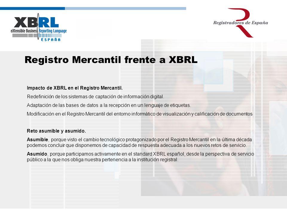 Registro Mercantil frente a XBRL Impacto de XBRL en el Registro Mercantil. Redefinición de los sistemas de captación de información digital. Adaptació