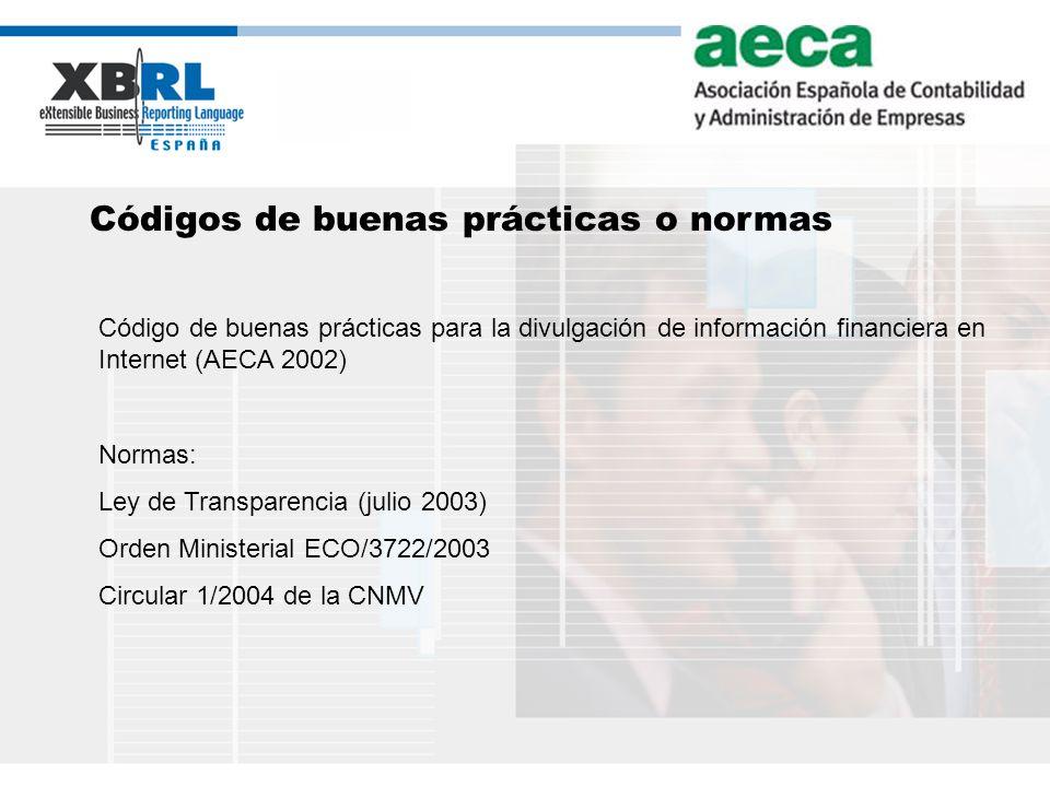(logotipo) Códigos de buenas prácticas o normas Código de buenas prácticas para la divulgación de información financiera en Internet (AECA 2002) Norma
