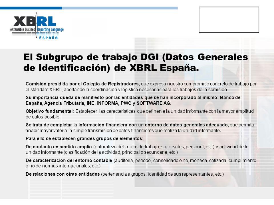 El Subgrupo de trabajo DGI (Datos Generales de Identificación) de XBRL España. Comisión presidida por el Colegio de Registradores, que expresa nuestro