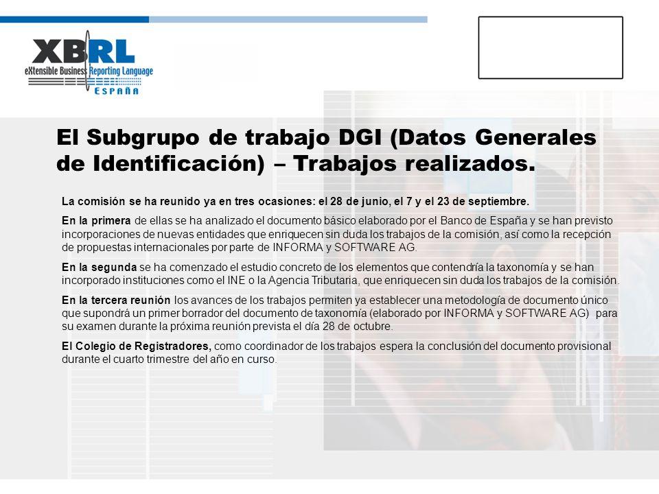 El Subgrupo de trabajo DGI (Datos Generales de Identificación) – Trabajos realizados. La comisión se ha reunido ya en tres ocasiones: el 28 de junio,