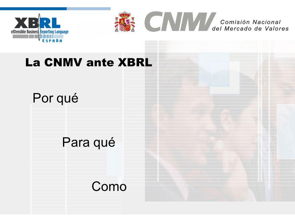 (logotipo) La CNMV ante XBRL Por qué - La CNMV siempre ha impulsado la normalización y la estandarización en los sistemas de información - Agencia Nacional de Codificación de Valores (ANCV): Código ISIN de valor (ISO 6166) - La CNMV pionera en e-administración con XML