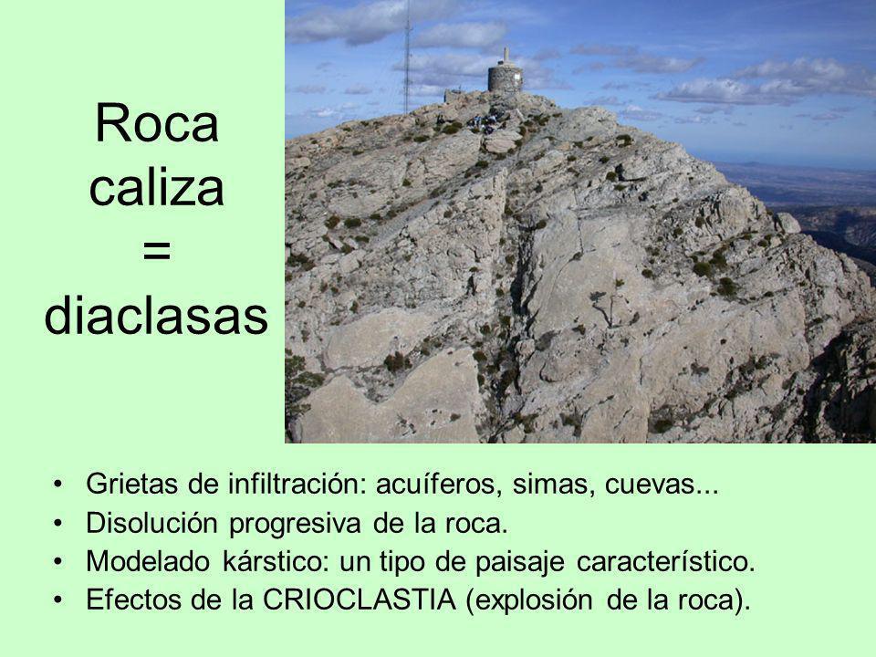 Roca caliza = diaclasas Grietas de infiltración: acuíferos, simas, cuevas... Disolución progresiva de la roca. Modelado kárstico: un tipo de paisaje c
