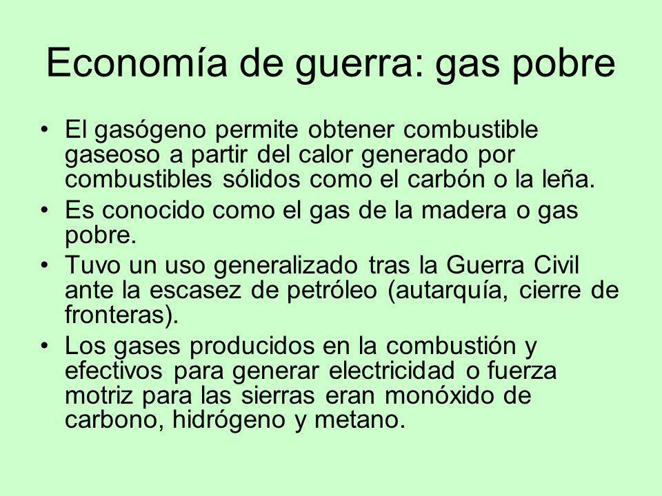 Economía de guerra: gas pobre El gasógeno permite obtener combustible gaseoso a partir del calor generado por combustibles sólidos como el carbón o la