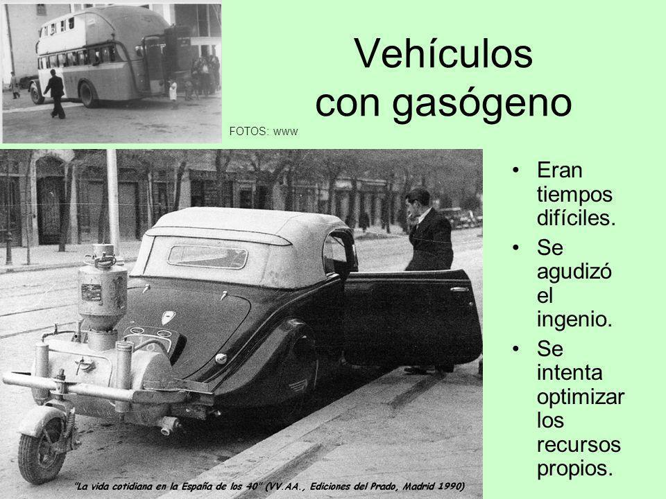 Vehículos con gasógeno Eran tiempos difíciles. Se agudizó el ingenio. Se intenta optimizar los recursos propios. FOTOS: www