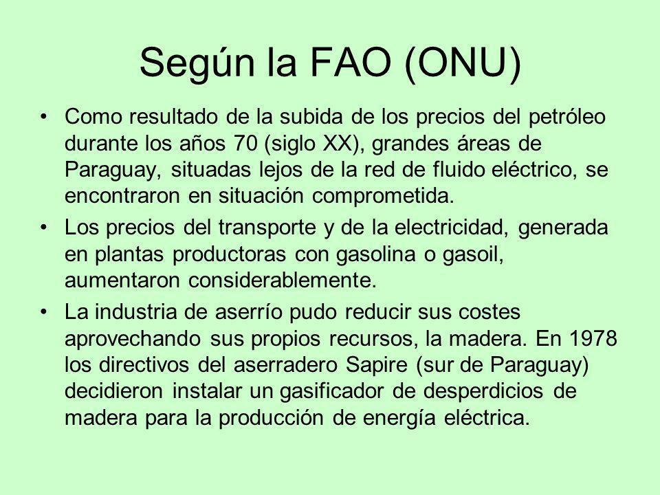 Según la FAO (ONU) Como resultado de la subida de los precios del petróleo durante los años 70 (siglo XX), grandes áreas de Paraguay, situadas lejos d