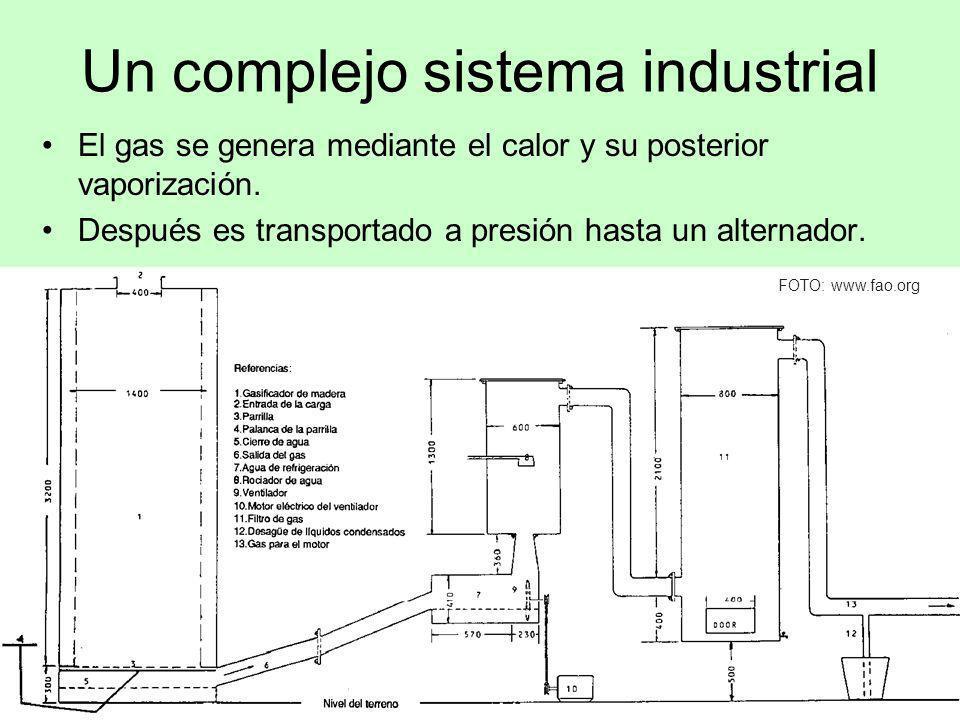 Un complejo sistema industrial El gas se genera mediante el calor y su posterior vaporización. Después es transportado a presión hasta un alternador.