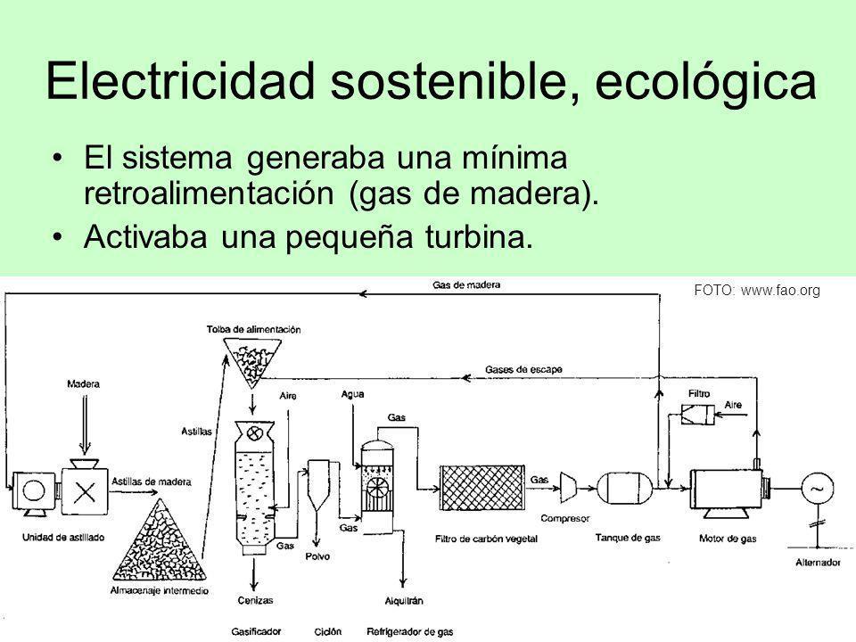 Electricidad sostenible, ecológica El sistema generaba una mínima retroalimentación (gas de madera). Activaba una pequeña turbina. FOTO: www.fao.org