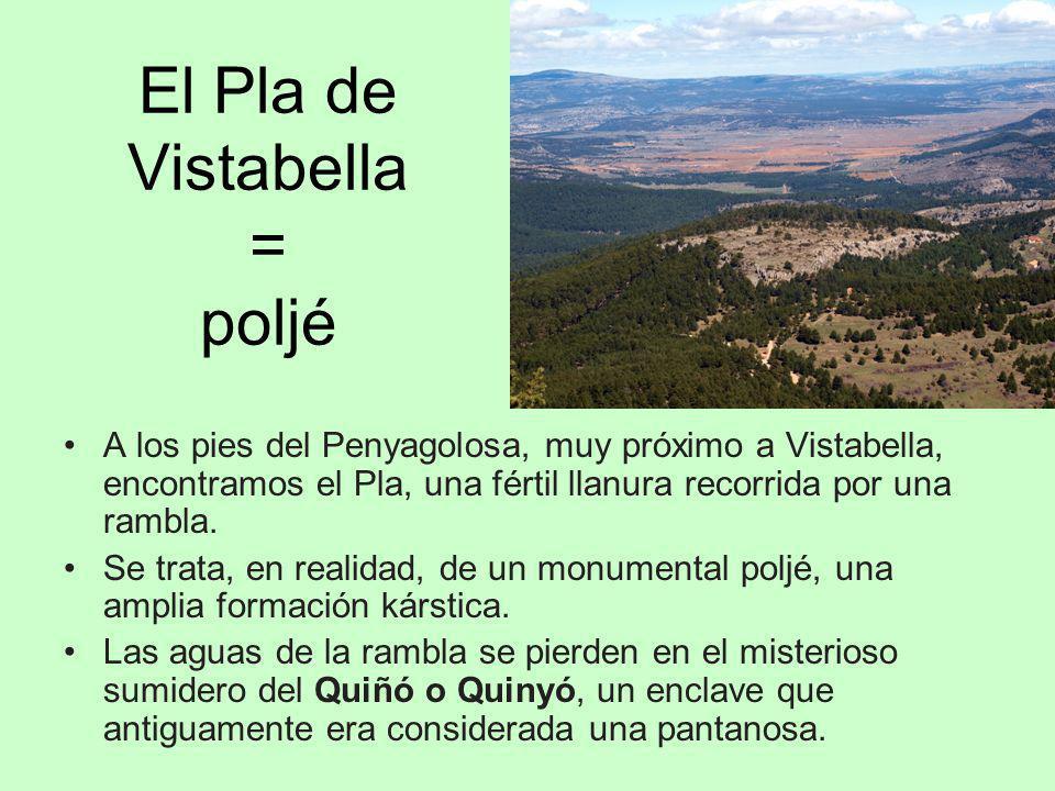 El Pla de Vistabella = poljé A los pies del Penyagolosa, muy próximo a Vistabella, encontramos el Pla, una fértil llanura recorrida por una rambla. Se