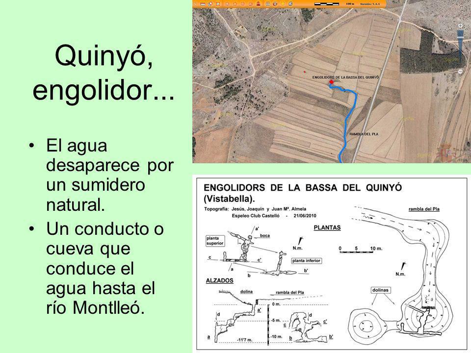 Quinyó, engolidor... El agua desaparece por un sumidero natural. Un conducto o cueva que conduce el agua hasta el río Montlleó.