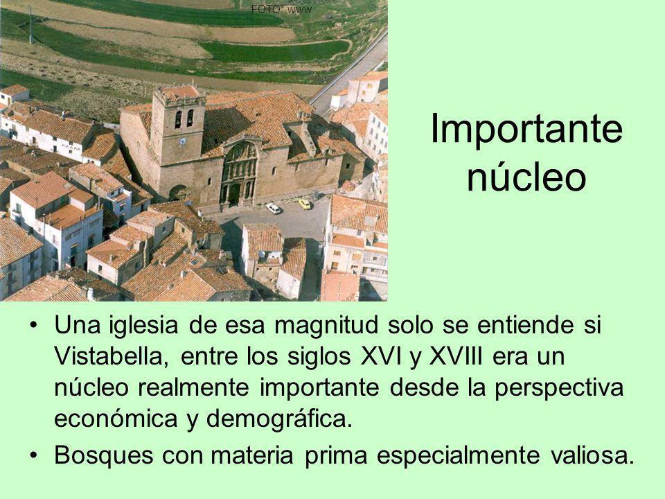 Importante núcleo Una iglesia de esa magnitud solo se entiende si Vistabella, entre los siglos XVI y XVIII era un núcleo realmente importante desde la